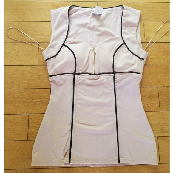 538574403f Cache Tops - Cache pink black piping corset style tank top XS